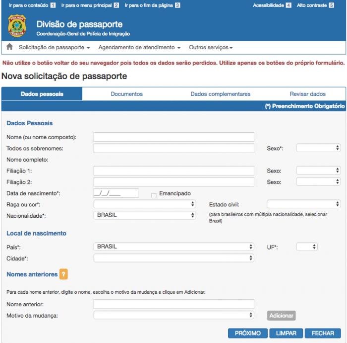 Formulário de solicitação de passaporte comum