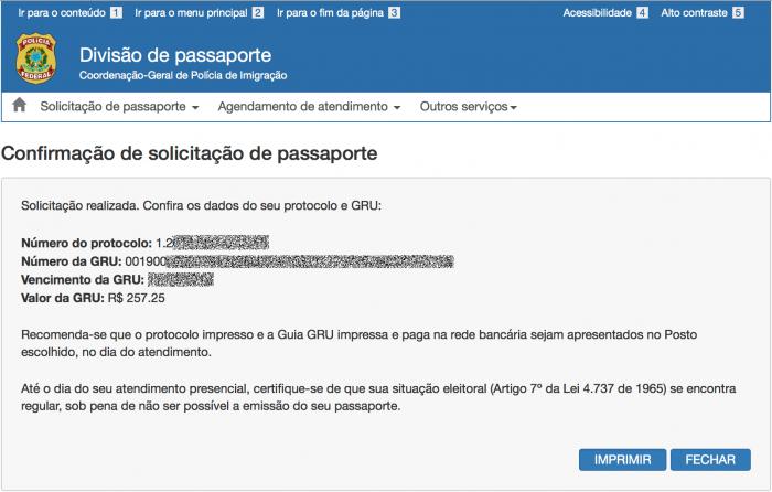 Como saber o numero do protocolo do passaporte