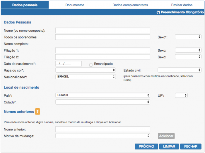 preenchimento formulario passaporte online