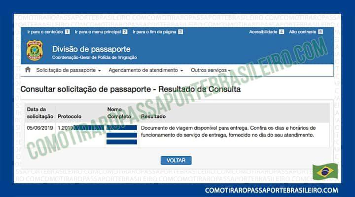 Esta imagem representa o resultado da consulta de solicitação de passaporte (Documento de viagem disponível para entrega)