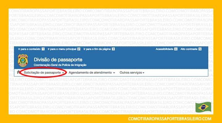 Esta imagem ilustra o passo a passo para imprimir o protocolo do passaporte do Brasil