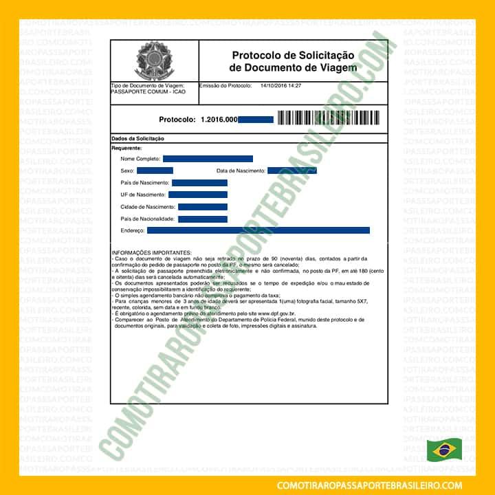 Esta imagem é um exemplo do protocolo de solicitação de documento de viagem