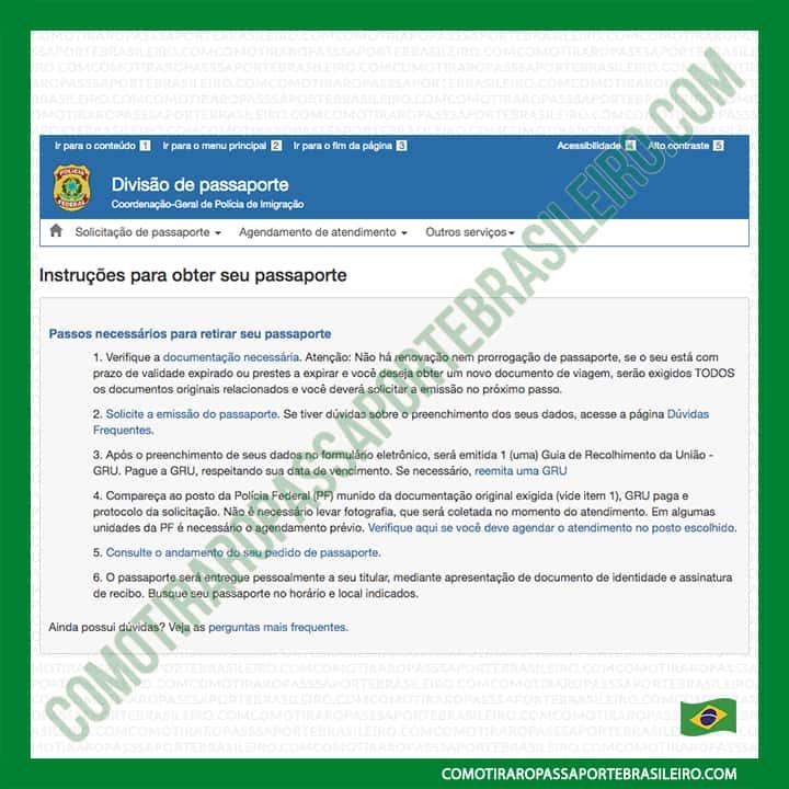A imagem mostra a tela inicial do agendamento de passaporte brasileiro