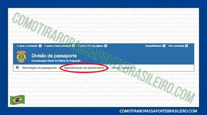 A Imagem mostra a opção agendamento de atendimento para passaporte