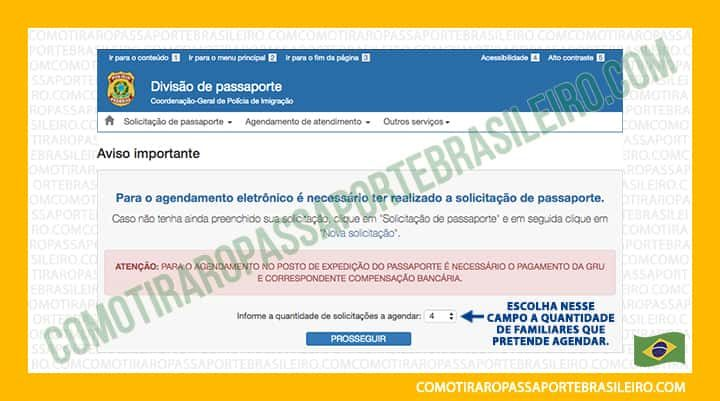 A imagem mostra a opção para selecionar a quantidade de marcações para a família para passaporte