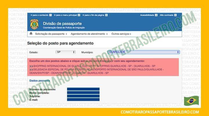 A imagem mostra os posto para passaporte disponíveis para agendamento familiar na cidade escolhida