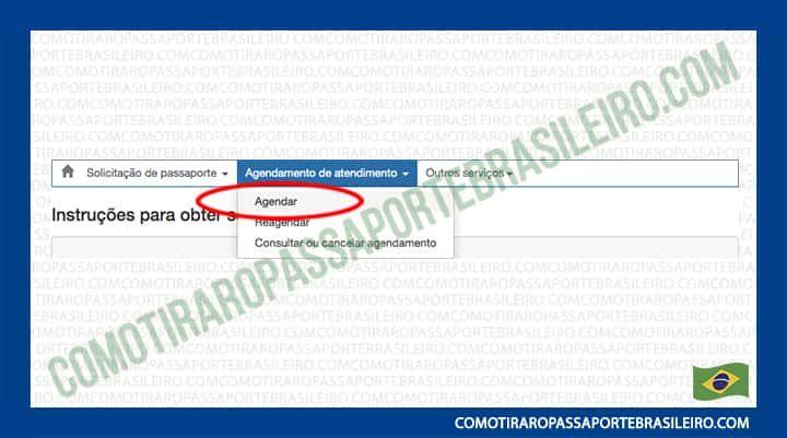 A Imagem mostra a opção agendar do passaporte do Brasil