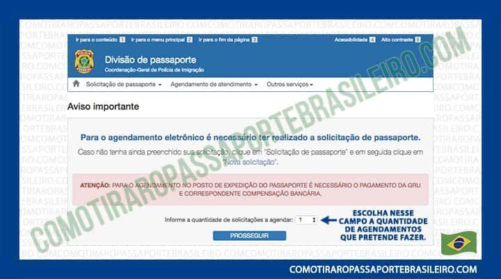 A imagem mostra a opção para selecionar a quantidade de marcações para passaporte
