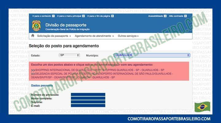 A imagem mostra os posto para passaporte disponíveis para agendamento no município escolhido