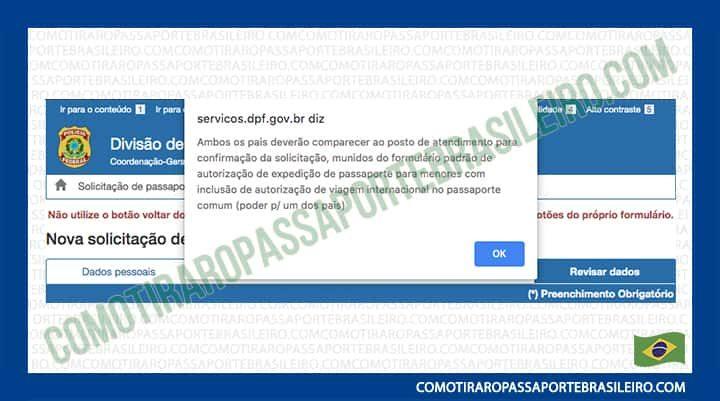 A imagem mostra um aviso do requerimento de passaporte relacionado aos menores de idade