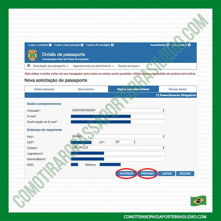 A imagem mostra os botões de navegação da requisição de passaporte
