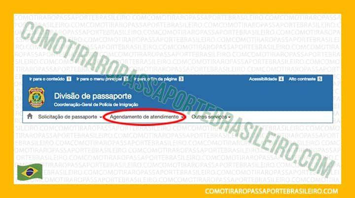 A imagem mostra o primeiro passo cancelar agendamento de passaporte