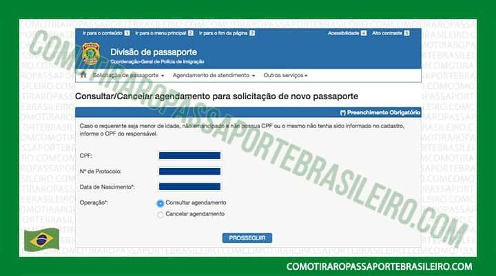 A imagem mostra a opção consultar agendamento do passaporte brasileiro