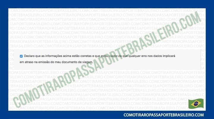 A imagem mostra a declaração de conformidade da solicitação de passsaporte selecionada
