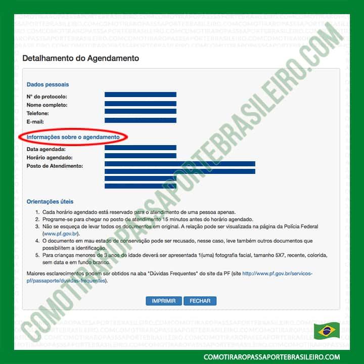 A imagem mostra o detalhamento do agendamento de passaporte