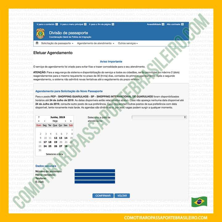 A imagem mostra o calendário para marcar o atendimento para passaporte familiar