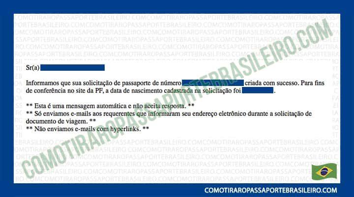 A imagem mostra o email de confirmação de solicitação de passaporte enviado pela Polícia Federal