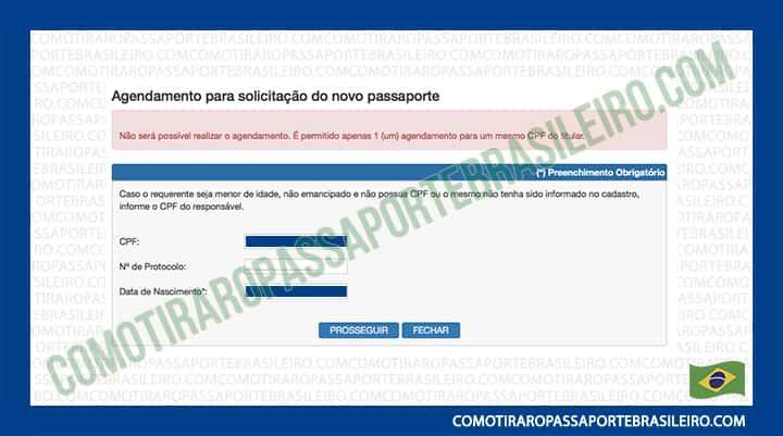 A imagem mostra um dos avisos apresentados pelo sistema de agendamento de passaporte (CPF)