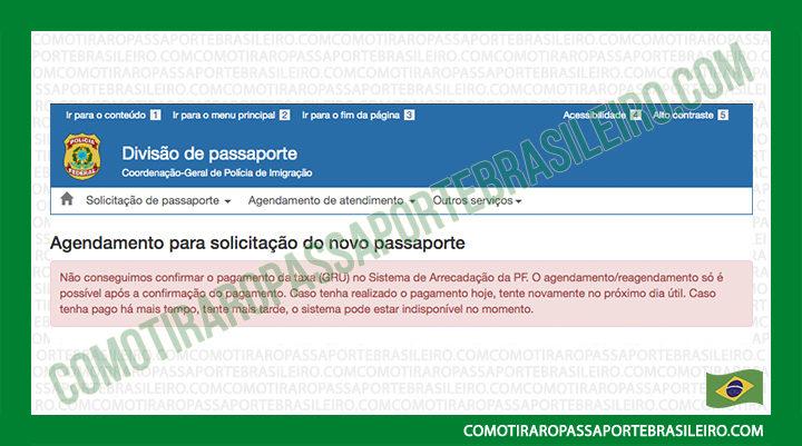 A imagem mostra o aviso sobre não ser possível agendar o passaporte devido falta de pagamento
