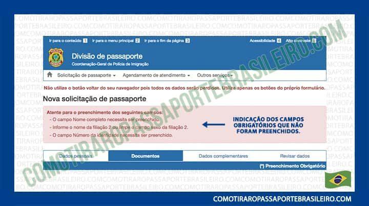 A imagem é um exemplo dos campos obrigatórios não preenchidos ao solicitar passaporte