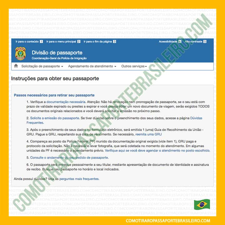 A imagem mostra a tela inicial do requerimento de emissão de passaporte brasileiro