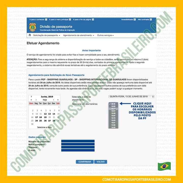 A imagem mostra o menu de horários para agendar passaporte brasileiro para uma família