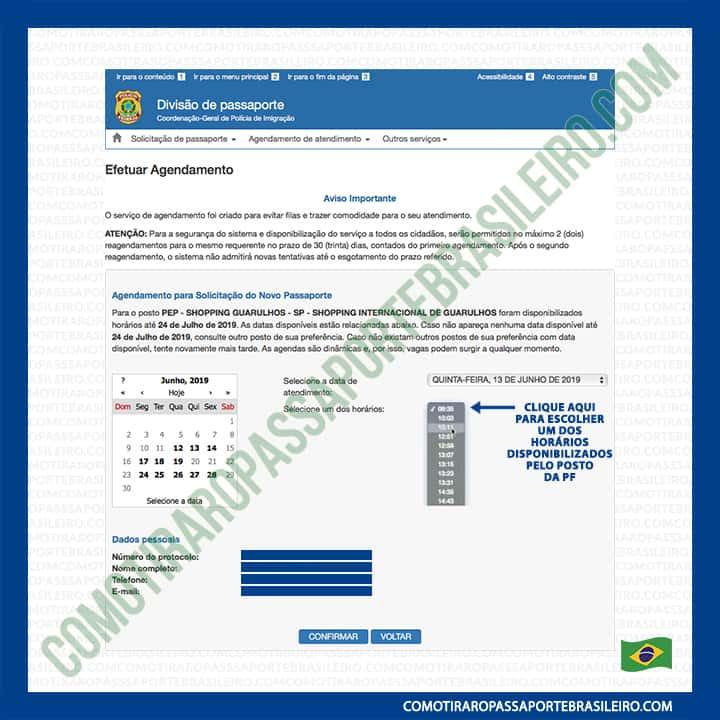 A imagem mostra o menu de horários para agendar passaporte brasileiro