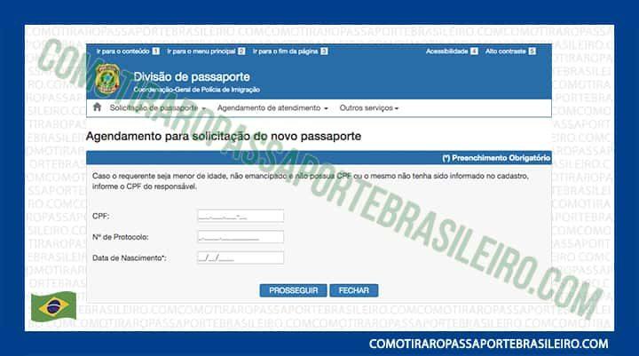 A imagem mostra os campos do agendamento de solicitação de novo passaporte
