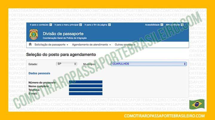 A imagem mostra a tela inicial para agendar a entrevista familiar para passaporte brasileiro