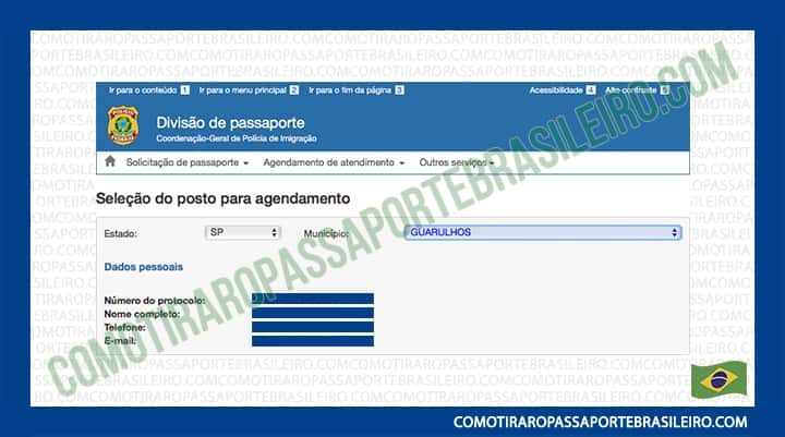 A imagem mostra a tela inicial para agendar a entrevista do passaporte no posto da PF