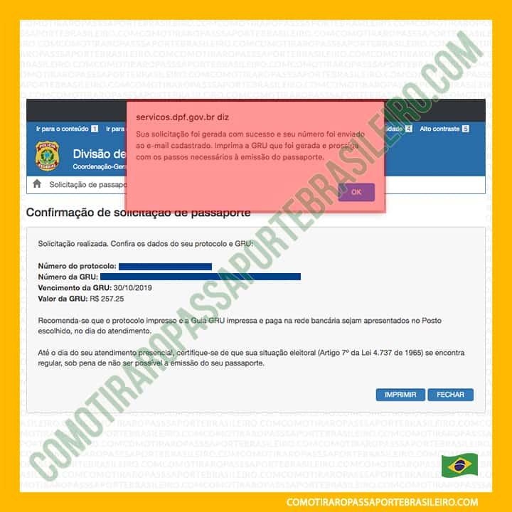 A imagem mostra o aviso que a solicitação de passaporte foi feita
