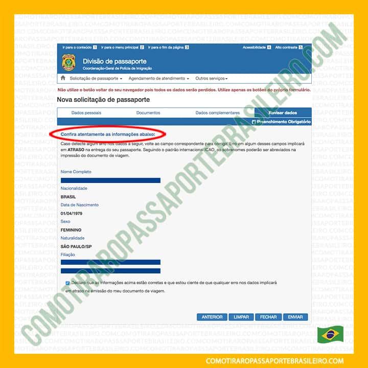 A imagem mostra as seções do painel quatro da solicitação de passaporte