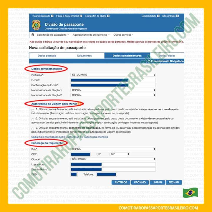 A imagem mostra as seções do painel três da solicitação de passaporte para menores de idade