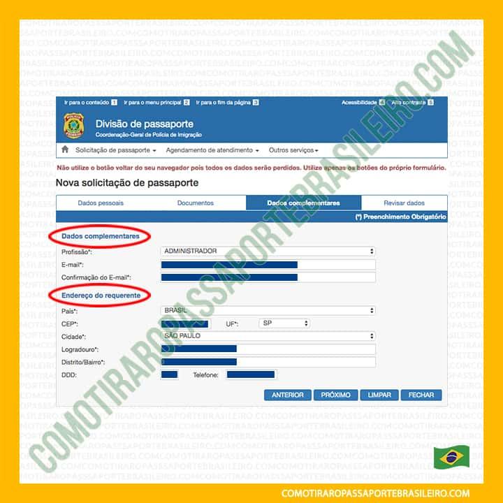 A imagem mostra as seções do painel dois do requerimento de emissão de passaporte
