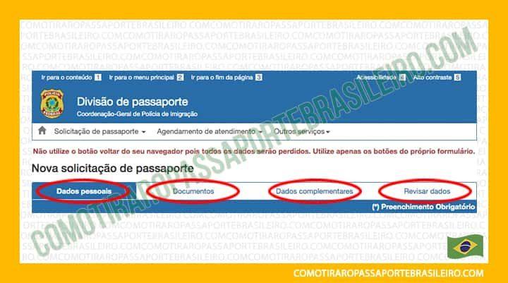 A imagem mostra as opções disponíveis para emissao de passaporte online