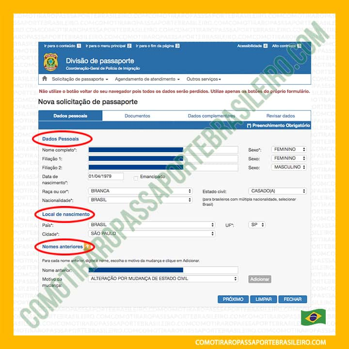 A imagem mostra as seções do painel um do formulário para pedir passaporte