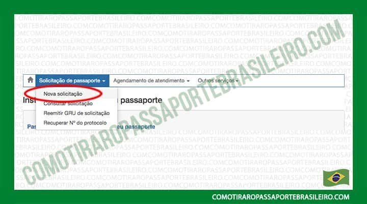 A Imagem mostra a opção nova solicitação do cadastro para passaporte