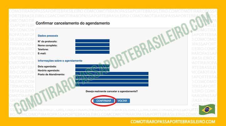 A imagem mostra onde clicar para confirmar o cancelamento de agendamento de passaporte
