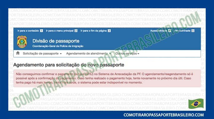A imagem mostra o aviso que indica que o pagamento da GRU ainda não foi confirmado