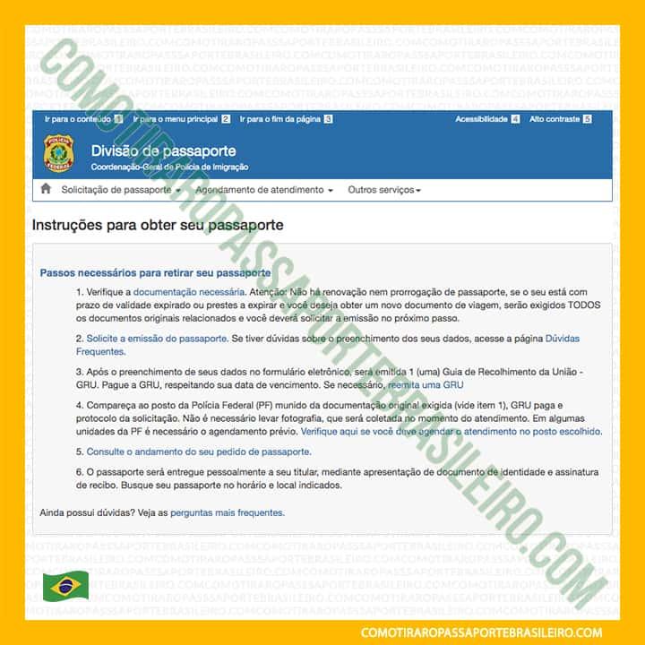 A imagem mostra a tela inicial para reagendamento de passaporte
