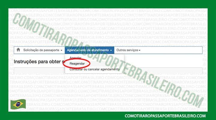 A imagem mostra como alterar a data do agendamento do passaporte
