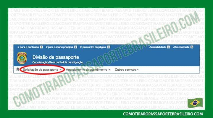 A Imagem mostra a opção solicitação de passaporte do formulário eletrônico