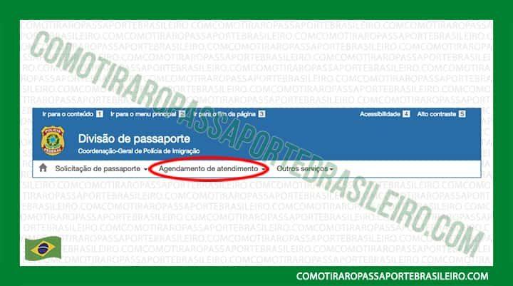 A imagem mostra o primeiro passo para verificar um agendamento do passaporte